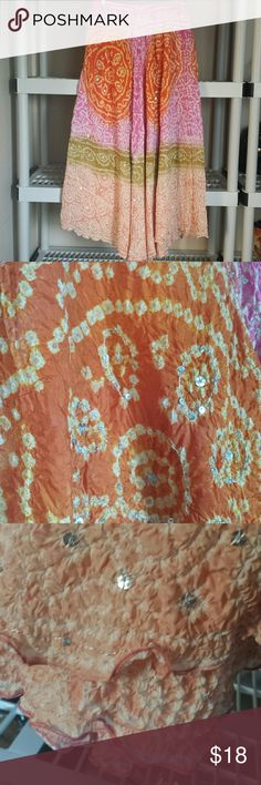 ??BINDYA LULLA ?? INDIAN INSPIRED MAXI SKIRT PRE-OWNED, GENTLY USED!  100%:SILK . CAN BE WORN AS A COVER UP OR SIMPLY AS A SKIRT!  IF YOU HAVE ANY ADDITIONAL QUESTIONS, PLEASE ASK BEFORE YOU PURCHASE! THANK YOU ? bindya lulla  Swim Coverups