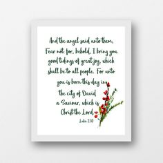 Luke 2:10 Christmas instant download printable wall art | Etsy