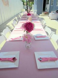 Simply pink table setting