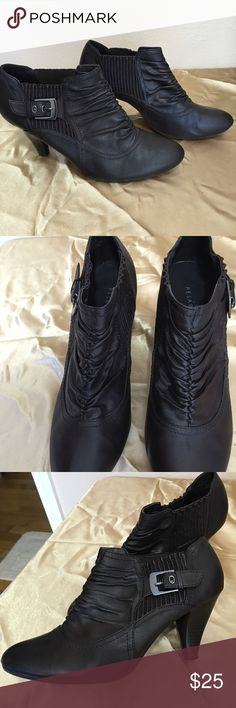 """Booties Beautiful brown booties. 2"""" wood like heels. Cute stretch panel with buckle on side. Only worn a few times. Very comfortable. Pesaro Shoes Ankle Boots & Booties"""