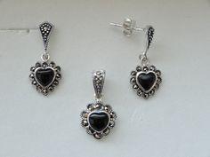 $36 925 ONYX STERLING SILVER SET, info@bijuterie-online.ro 925 Silver, Sterling Silver, Drop Earrings, Jewelry, Women, Jewlery, Jewerly, Schmuck, Drop Earring
