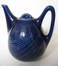 A Swedish design classic - 'Bla Eld' (Blue Fire) coffee and teapot designed by Hertha Bengtsson in 1949 and manufactured by Rorstrand between 1950 and 1971.