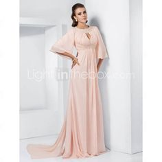 A-line Jewel Sweep/Brush Train Chiffon Evening Dress inspired by Melissa McCarthy at the 84rd Oscar