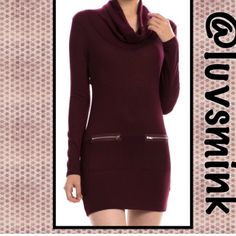 ZIPPERED BODYCON DRESS IN BURGUNDY -  MEDIUM What could be more chic than a BODYCON dress with zippered pockets, soft knit fabric, and a draped neckline??  Nothing, other than a matching dress in Charcoal Grey !!  Form fitting to wear with your favorite leggings or tights, thigh boots, or booties. NO HOLD OR TRADES;  PRICE IS FIRM, UNLESS BUNDLED.  COLOR IS BURGUNDY.  This listing is a size MEDIUM Double Zero Dresses
