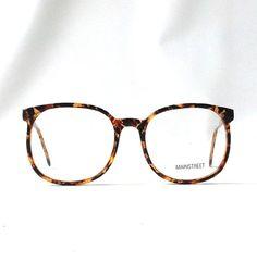 d249d6c3a vintage 1980's NOS eyeglasses oversized round brown tortoise shell plastic  frames clear lenses prescription mens womens modern eye glasses