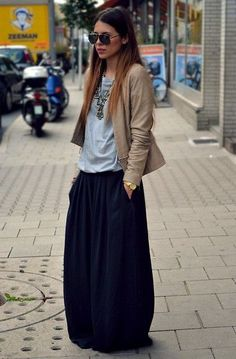 maxi skirt & leather jacket