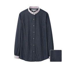 WOMEN IDLF Cotton Print Long Sleeve Shirt