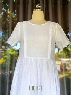 Premium Loose Linen Dress - MLD34 - XS / DarkOliveGreen