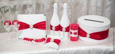 Купить Набор свадебных аксессуаров - фужеры на свадьбу, казна для денег, подушка для колец, свадебные аксессуары
