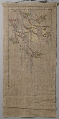 Cypress in Spring attributed to Anna Frances Simpson (1880–1930). Dated: ca. 1910–29 Geography: South, New Orleans, Louisiana.  Embroidered silk on linen. Dimensions: 35-3/4 x 16-1/4 in.