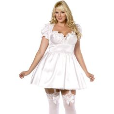 Costum adult, dama, Mini-Negligee Alb Plus Size
