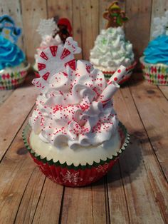 Peppermint Candy Fake Cupcake  Holiday Faux by FakeSugarShack, $6.75
