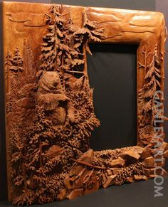 Dave Ganley woodworking... Bear in forest mirror: very detailed and intricate wood carving done all by hand.: