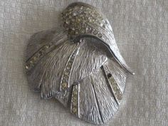 Textured Silvertone Feather Brooch Pin Pave by RicksVintagePlus, $18.00