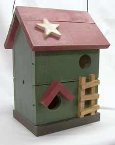 2-story barn red and green birdhouse, shaby chic, cottage style.. $20.00, via Etsy.