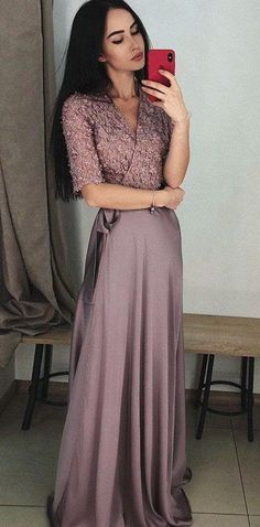 caf9b6a68211 A Line V-Neck Half Sleeves Purple Long Prom Dress with Lace Top