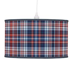 Red White and Blue Plaid Pendant Lamp