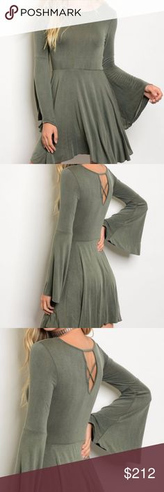 BELL SLEEVED SKATERS DRESS New!  Long sleeve jersey skater dress with a rounded neckline, criss -cross detail on back and awesome bell sleeves!  Modeled in a size small MADE IN THE USA 95% RAYON 5% SPANDEX HVHOUSEWIFE Dresses