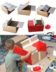 For kids cardboard box car cardboard box crafts for toddlers home improve. Cardboard Car, Cardboard Box Crafts, Cardboard Box Ideas For Kids, Car Costume, Diy Costumes, Monster Truck Costume, Toddler Costumes, Carton Diy
