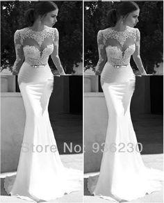 Vestidos De Noiva 2014 New Arrival Sexy Long Sleeves Lace sheath Wedding Dresses Satin Bridal Weddings /Events Gowns $149.00