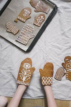 Don't just make a gingerbread house - bake additional dough into these festive gloves for some extra fun!