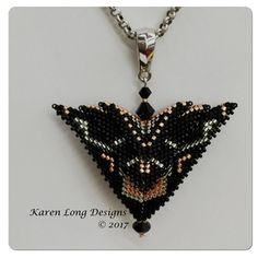 "The Phoenix - ""Deco"" Jewelry Art, Beaded Jewelry, Beaded Necklace, Necklaces, Beading Projects, Beading Tutorials, 3d Triangle, Diy Jewelry Inspiration, Manualidades"