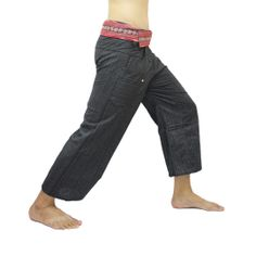 Black Thai Fisherman Pants with Thai hand woven fabric on waist side, Wide Leg pants, Wrap pants, Unisex pants  $25.00 Free shpping