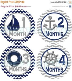 ON SALE Nautical month to month stickers  by MomAndMeCompany