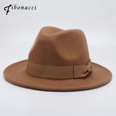 Fibonacci Autumn Winter Wide Brim Fedora Men Brown Jazz Hat Flat Brim Felt  Cap Trilby Wool Bowler Hats For Women Jewish Hat 3eb10de45340