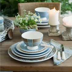 Informal plaid and blue table setting