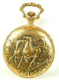 antique pocket watch with horse design