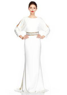 BADGLEY MISCHKA Three-Quarter Sleeve Gown with Embellished Waist