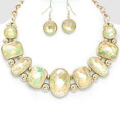 #Beautiful #Wedding #Bridal #Prom #Fashion #GOLD #CREAM #OPAL #Chunky #Statement #Jewelry #Necklace #Earrings #Set