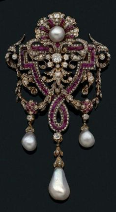 An antique gold, pearl, ruby and diamond brooch, by Charles Martial Bernard, circa 1865  via Beaussant Lefèvre