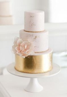 gold, white and peach wedding cake by The Cake That Ate Paris