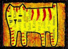 kitty meow meow e9Art ACEO Cat Outsider Art Brut Folk Painting Naive Primitive #OutsiderArt