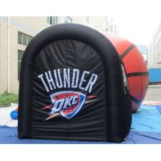 Prototype inflatable basketball sports entry with  OKC Thunder theme. http://www.teamtunnels.com