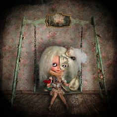 The loneliness of the voiceless Troubadour  Art piece with Blythe doll  2010  Rebeca Cano ~ Cookie dolls