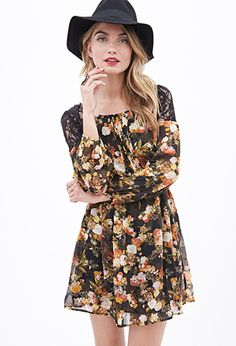 Crochet-Paneled Floral Dress | FOREVER21 - 2000083631