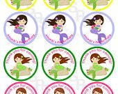 Mermaid Mix and Match 2 inch circle Cupcake toppers