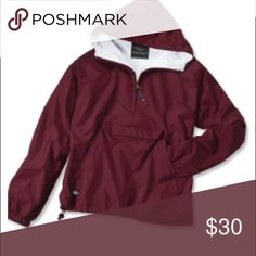 Maroon Charles River Rain Jacket An all-around bestseller for 29 years! Lightweight and packs into its pouch for traveling. Wind and water-resistant River Tec Nylon with 100% cotton flannel lining throughout for softness. Conveniently packs into its front pouch pocket for storage. Extended zipper above neck offers extra protection against wind. Front pockets, elasticized cuffs and an open hem with shock cord drawstring. New with tags. True to size. Charles River Apparel Jackets & Coats