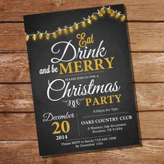Chalkboard Christmas Party Invitation ideas 2017