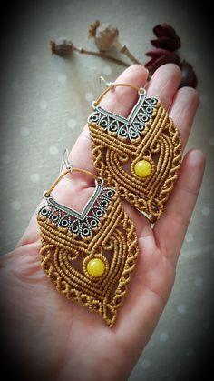 Macrame Earrings, Macrame Jewelry, Bohemian Jewelry, Diy Jewelry, Jewelery, Crochet Earrings, Jewelry Making, Beaded Bracelets, Diy Fashion Projects