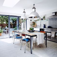 Stainless-steel kitchen with pops of blue | Modern kitchen design ideas | Kitchen | PHOTO GALLERY | Livingetc | Housetohome.co.uk