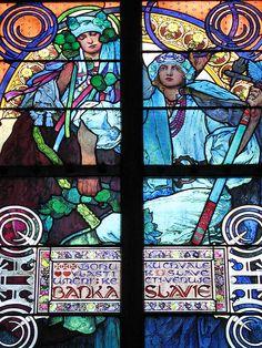 St Vitus Cathedral, Prague, Czech Republic. Designed by Czech Art Nouveau painter Alfons Mucha ca 1930