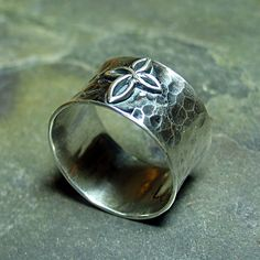 Cross Ring - hammered sterling silver band with a beautiful smooth infinity cross    ...from LavenderCottage on Etsy
