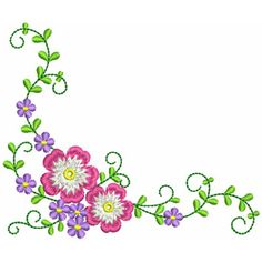 Floral Corner embroidery design Patterns Pinterest