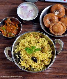 Muslim style wedding biryani recipe with onion raita,tomato masala and Badusha sweet - Sunday special lunch menu