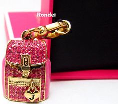NEW+AUTHENTIC+JUICY+COUTURE+PINK+CRYSTAL+BACKPACK+GOLD+BRACELET+NECKLACE+CHARM