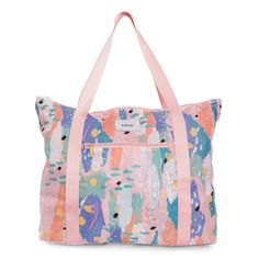 e30b0fe409b3 This lined large tote bag is stored in a pouch. Expand it to full-